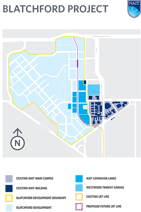 Map of NAIT's Blatchford expansion