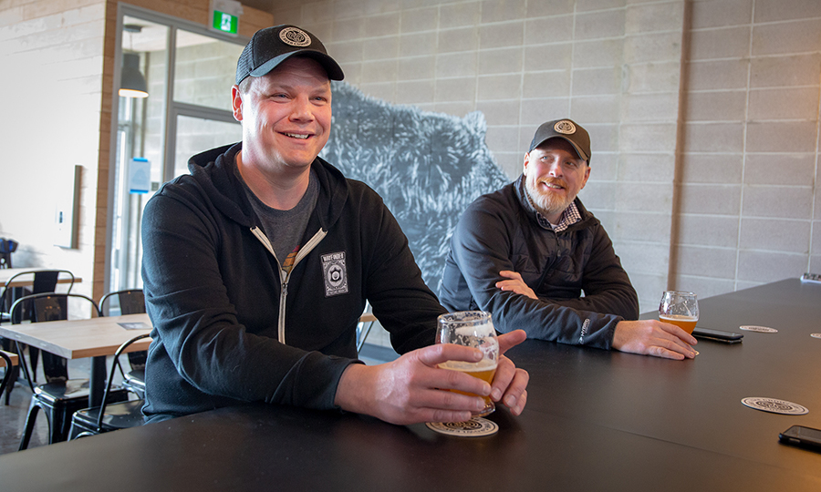 Kevin Danard and Jeff Pollock inside the Growlery Beer Co.