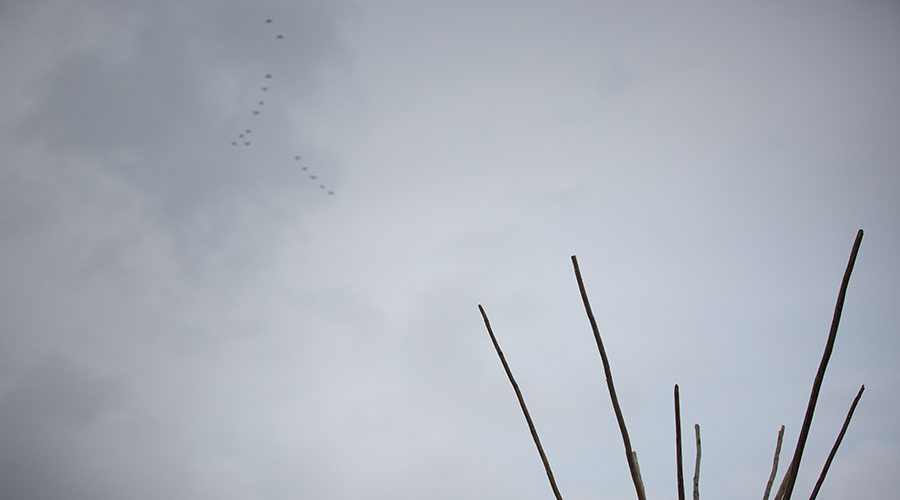geese migrating past tipi, Aboriginal Culture Day, NAIT, 2018