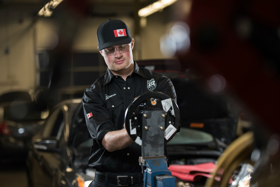 NAIT Automotive Services Technician student at work