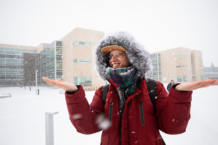 NAIT student in a snow storm
