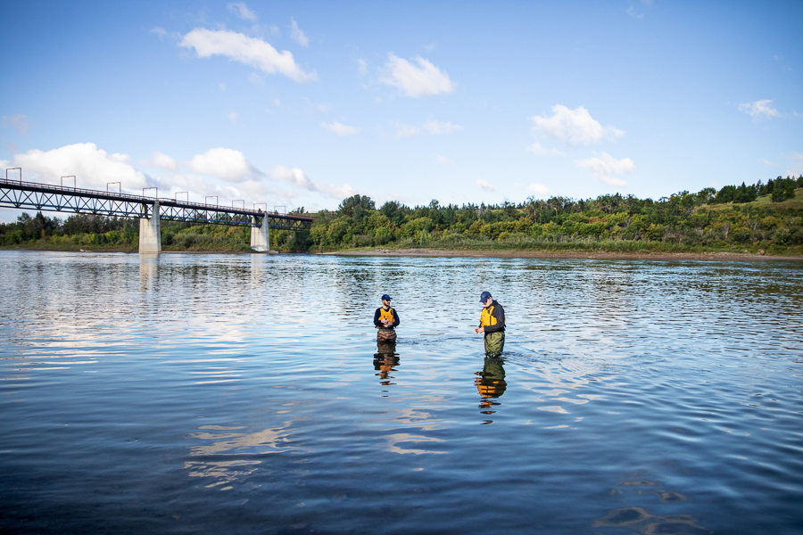 Researchers take water samples in the North Saskatchewan River