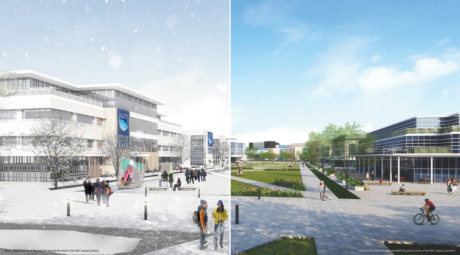 NAIT's future Main Campus in winter and spring