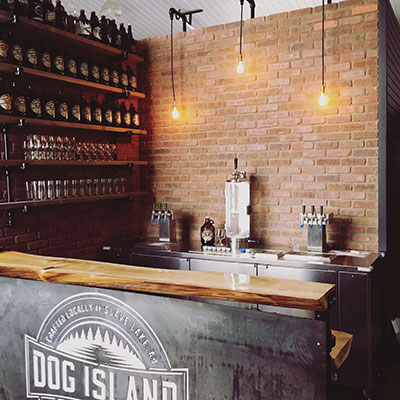 Ben Fiddler and Chad Paulson built the bar at Dog Island Brewing