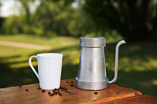 coffee pour-over kettle made by Edmonton entrepreneurs Matthew Semaka and Steven Osterlund on NAIT's 3d metal printer