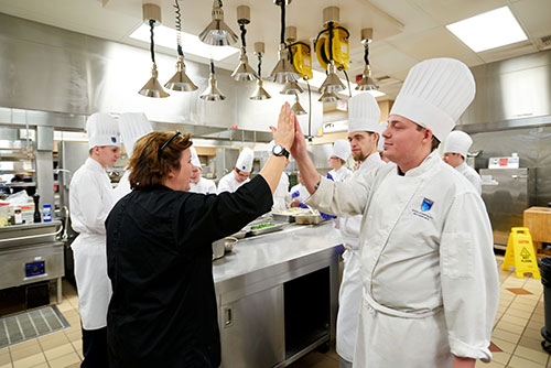 Lynn Crawford with NAIT Culinary Arts students; Hokanson Chef in Residence