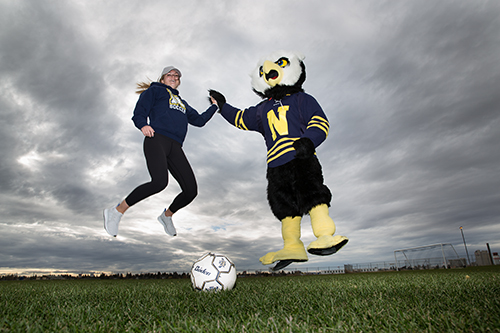 NAIT Ook mascot and women's soccer player