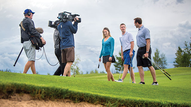 Meg Morrison films the last episode of Pro-Am Golf Show, which she owns and hosts, with Buffalo Sabres Mark Pysyk (centre) and former co-host Jason Strudwick.