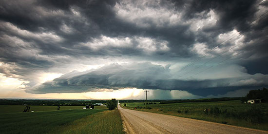 super cell storm near rocky mountain house alberta